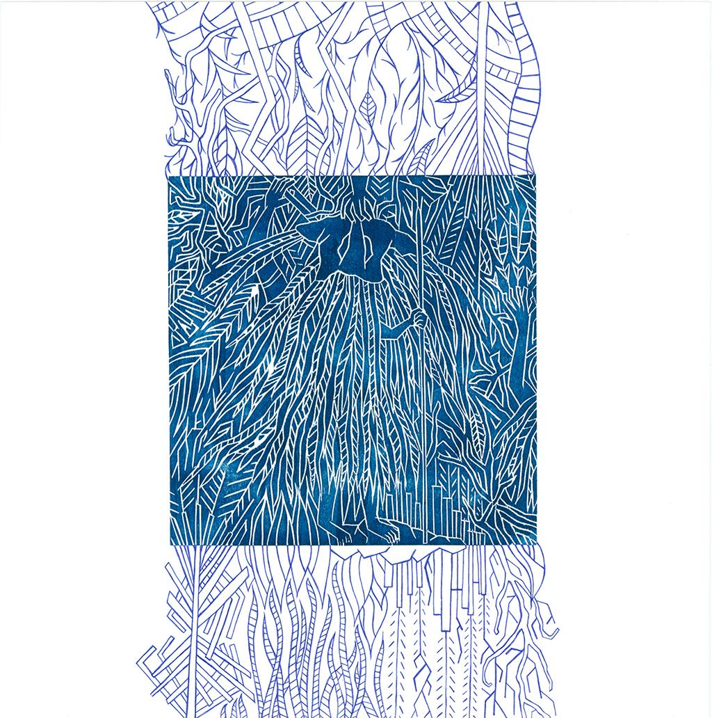 Peuplade à nue - disparition - Gravure sur bois et feutre - 50x50cm