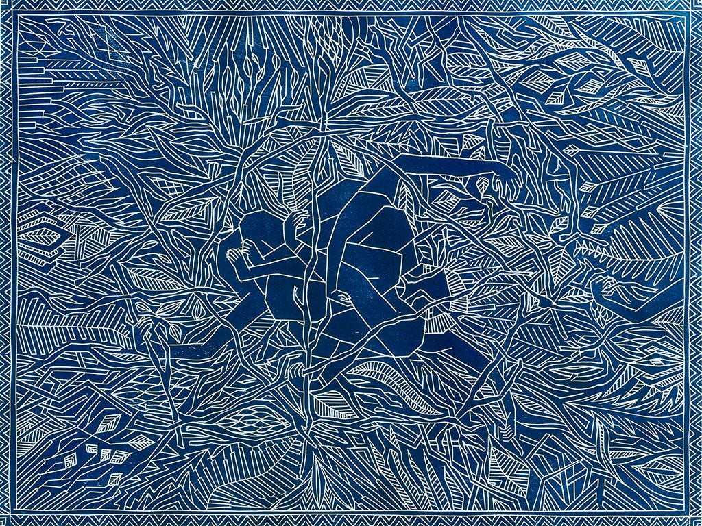 Peuplade à nue - le caméléon humain - Gravure sur bois - 50x70cm