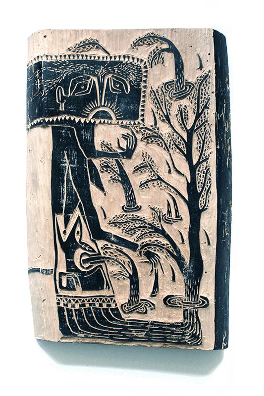 Les imbriqués en forêt - gravure sur bois - 20x30cm