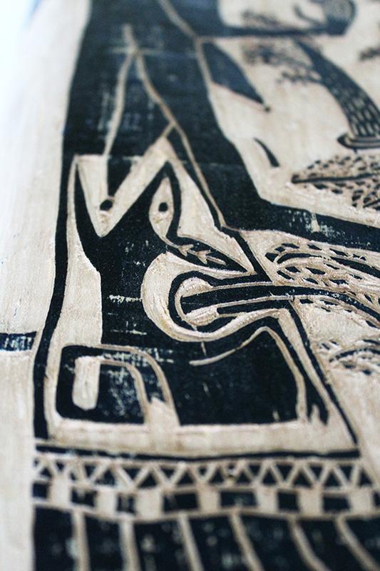 Les imbriqués - gravure sur bois - détail