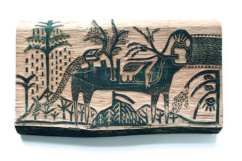 Les imbriqués transpercés - gravure sur bois - 15x30cm