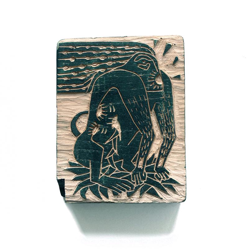 Les imbriqués primates - gravure sur bois -  10x12cm