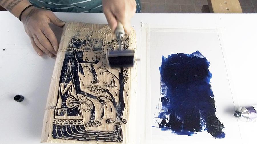 Les imbriqués - gravure sur bois - encrage